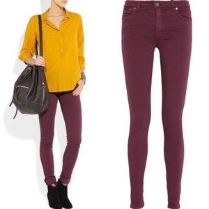 Victoria Beckham Power Mid-Rise Skinny Jeans Red